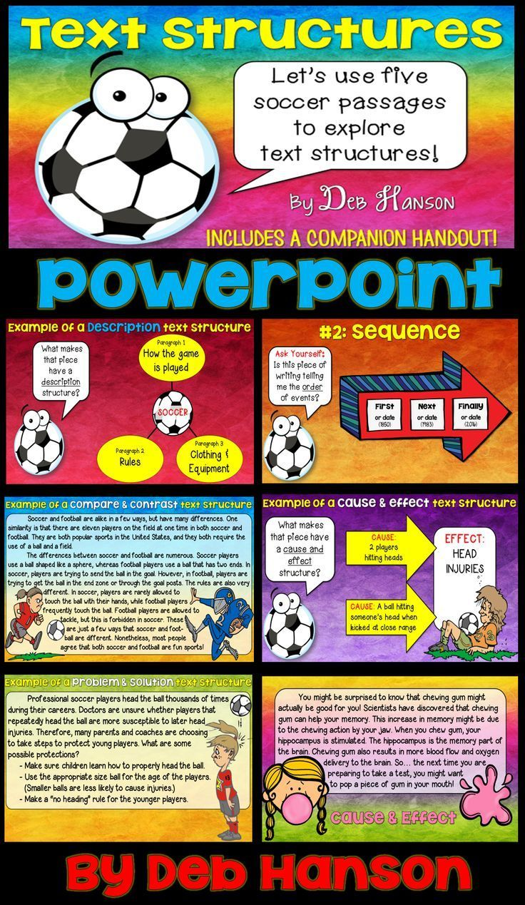 Text Structures PowerPoint- Use this to introduce five text structures to students: Description, Sequence, Compare and Contrast, Cause and Effect, Problem and Solution.