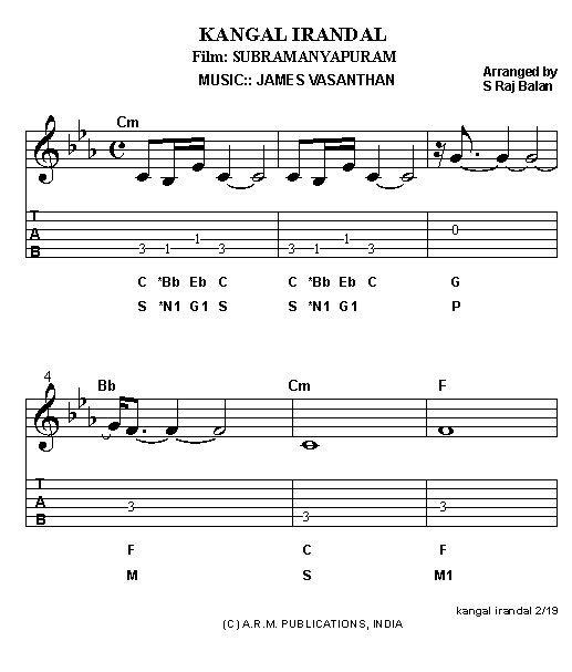 piano keyboard sheet music notation for tamil film hits n