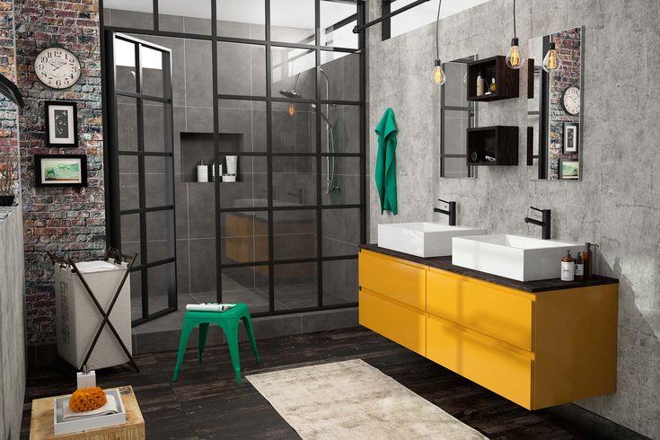 Meuble de salle de bain cedam gamme gloss d cor for Salle bain industrielle