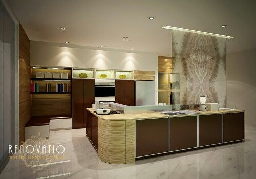Modern look for kitchen that combined with pattern glass