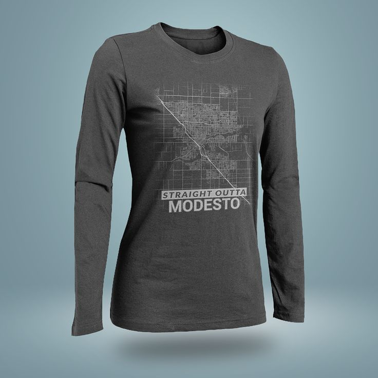 Straight Outta Modesto City Map Shirt ( California )