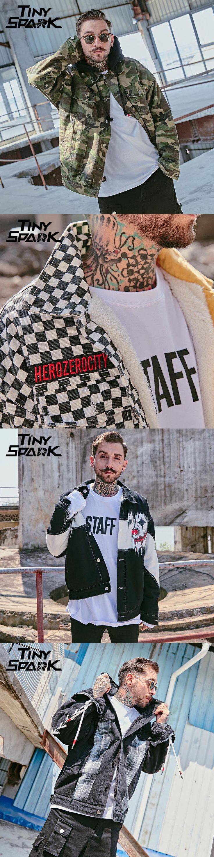 Tiny Spark 2017 Winter Bomber Jacket Men Black White Patchwork Grey Clown Denim Jacket Men Short Pilot Bomber Jacket Coat Cotton Warm Twill