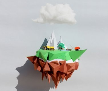 "Illusion: ""Floating Island"" is a paper sculpture by Julien Michel. http://illusion.scene360.com/news-community/floating-island/"