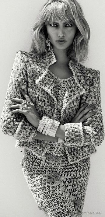 Chanel jacket and bangles. Luana Teifke by Zee Nunes for Vogue Brazil May 2013.