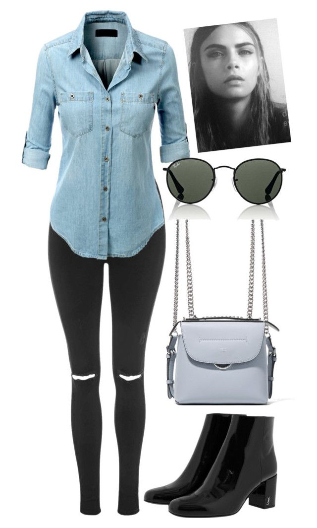 """Untitled #1533"" by mygenuca on Polyvore featuring Topshop, LE3NO, Fendi, Yves Saint Laurent and Ray-Ban"