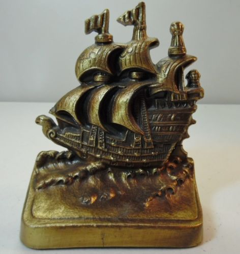 Heavy-Brass-Tall-Sailing-Ship-Figure-Door-Stop-or-Bookend-PM-Craftsman