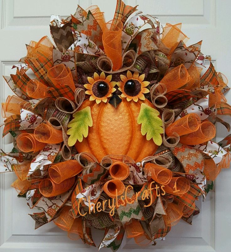 Fall Wreath,Fall Mesh Wreath,Owl Wreath,Autumn Wreath,Halloween Wreath,Front…