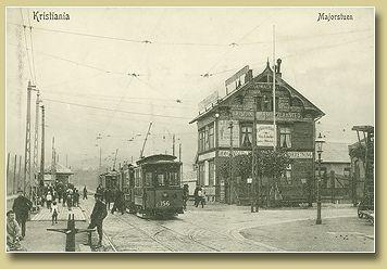 Majorstuen tram station - postcard from Oslo, Norway - 1900