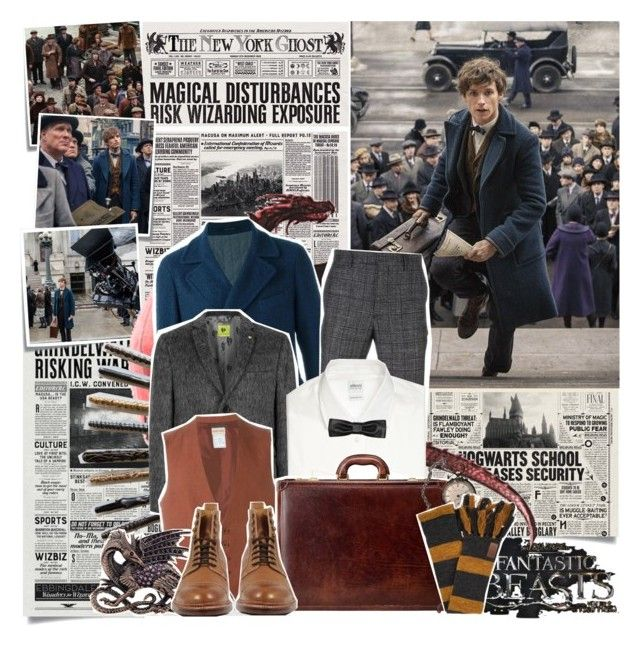 """""""Fantastic Beasts and Where To Find Them : Newt Scamander"""" by xxlittlediamond ❤ liked on Polyvore featuring Post-It, Tagliatore, Salvatore Ferragamo, Topman, Armani Collezioni, Romeo Gigli, Maxwell Scott Bags, Stacy Adams and Yves Saint Laurent"""