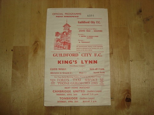 Away to Guildford City FC   Southern League   1962