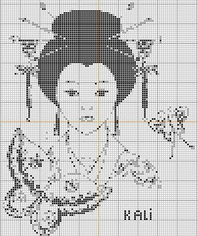 point de croix visage femme chinoise - cross stitch chinese girl