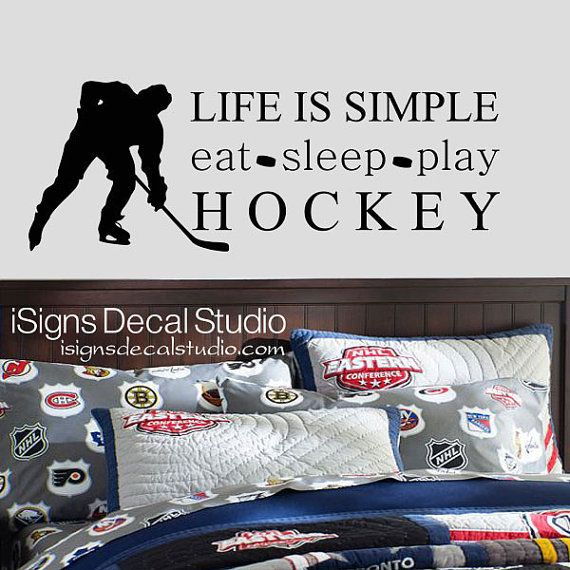 HOCKEY DECAL - Eat Sleep Play Hockey Decal - Sports decal - Boys Room Decal - Hockey Wall Decal on Etsy, $32.77