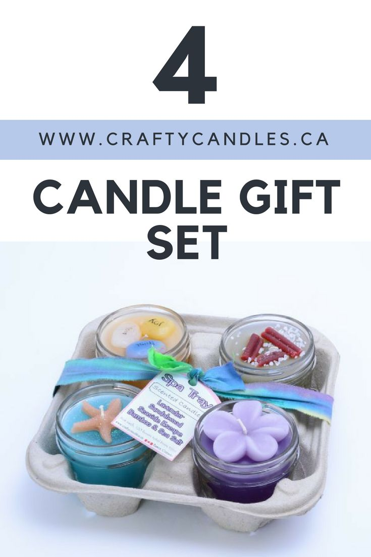 CAD: $29.99 At 4 ounces each, our tray candles are uniquely designed with a theme to match, even to the detail of the miniature wax toppings geared to each candle's scent. Perfect for the candle lover with a love for different scents.