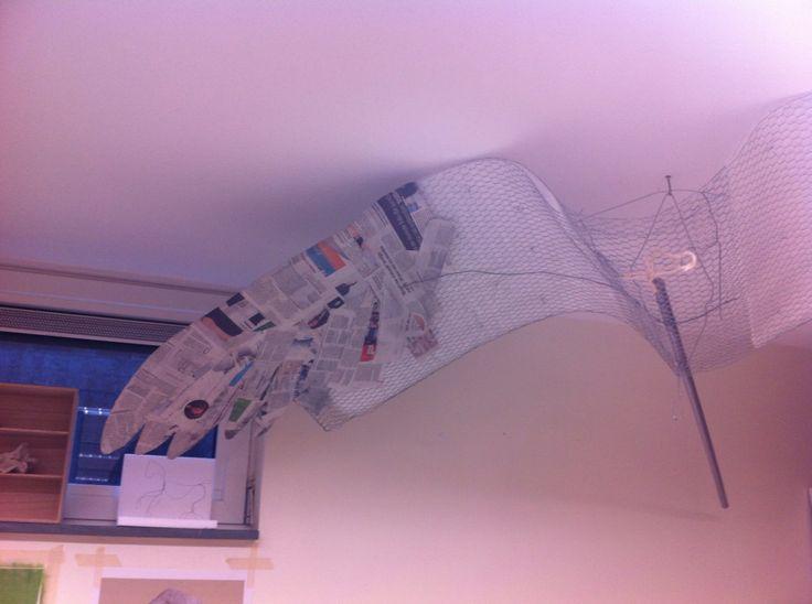 begin van een vleugel, metaaldraad, noppenfolie en papier-maché, RF