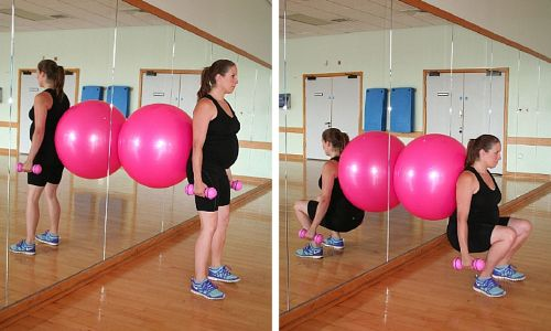 Pregnancy exercises using a stability ball and free weights