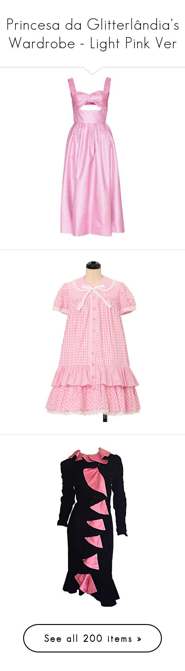 """Princesa da Glitterlândia's Wardrobe - Light Pink Ver"" by everysimpleplan ❤ liked on Polyvore featuring dresses, pink, pink cocktail dress, metallic dress, rosie assoulin dress, metallic cocktail dress, pink dress, velvet cocktail dress, pink long sleeve dress and collar dress"