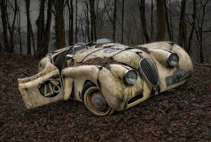 Lying on a blanket of Autumn leaves, these captivating scenes of abandoned vintage cars caught the attention of an urban explorer and photographer known online as DARKstyle Pictures.