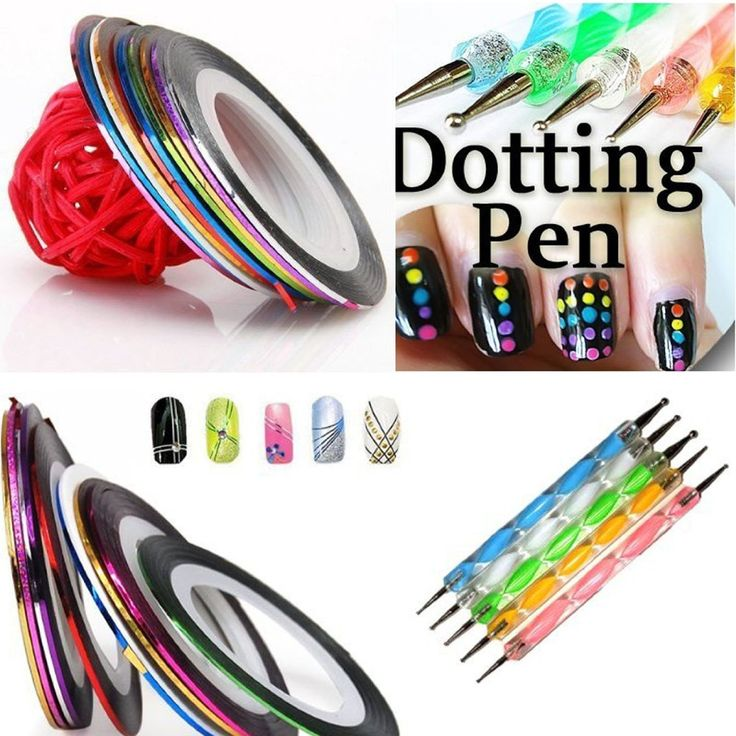 5 X 2 Way Marbleizing Dotting Pen Set for Nail Art Manicure Pedicure 10 Color Rolls Nail Art Decoration Striping Tape -- Want to know more, click on the image.