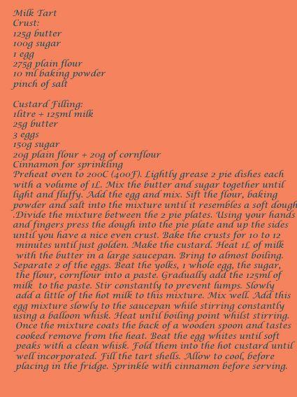 Milktart Recipe