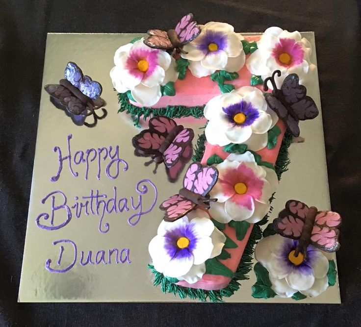 7th Birthday Cake with Butterflies & Flowers #butterflies #birthday #girly…