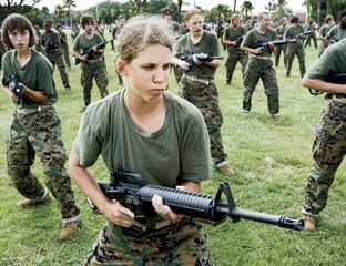 {Military Life} Article About Female Soldiers in Marie Claire Magazine: Hair falling out, periods on hold, and peeing in a cup: for female soldiers, life on the front line involves stuff men never have to think about: three women's stories.: