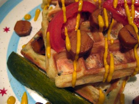Zeke the Plumber's Awful Waffles (Chicago-Dog inspired Savory Waffles | via Bake & Destroy