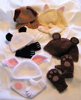 Crocheted Animal Hats and Gloves