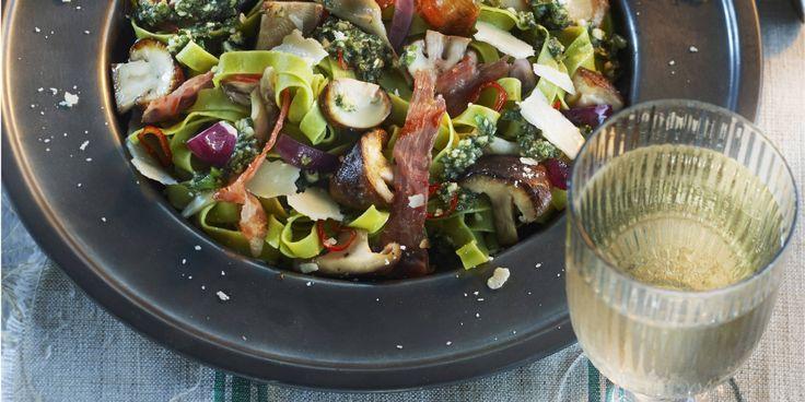 Boodschappen - Pasta met bospaddenstoelen en rauwe ham