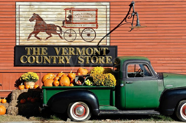 old pickup trucks decorated with pumpkins | The Vermont Country Store, Weston, Vermont, VT, USA