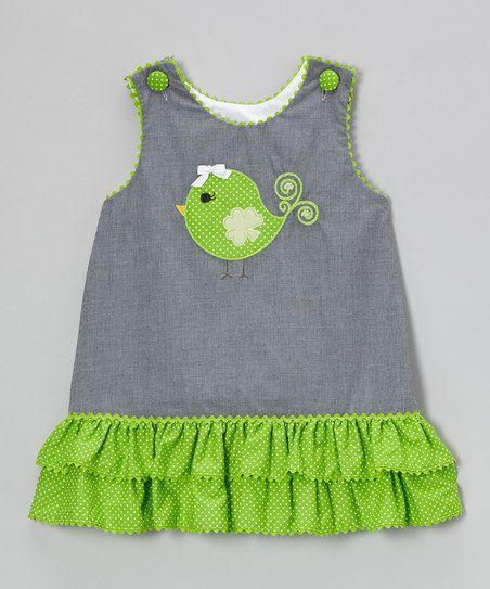 Stellybelly Black Gingham Clover Bird Ruffle Jumper - Infant, Toddler & Girls   zulily