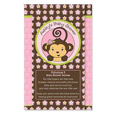 Monkey Girl - Personalized Baby Shower Fabulous 5 Games #HappyDot #BigDot #Monkeybabyshower #Monkeybabyshowergames