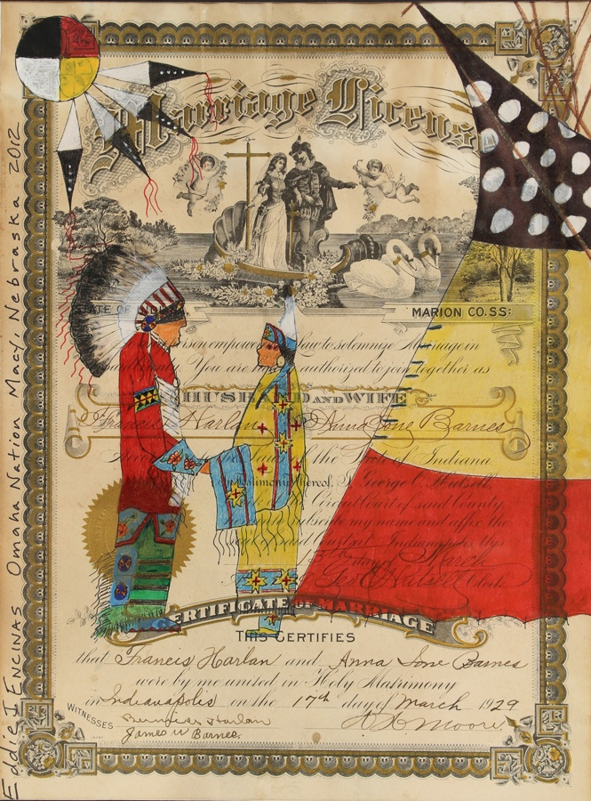 """As Long as the Grass Grows..."" Ledger Drawing by Eddie Encinas (Gahigezhinga) | Native American Ledger Art | Omaha Nation/UmoNhoN | wrightsgallery.com"