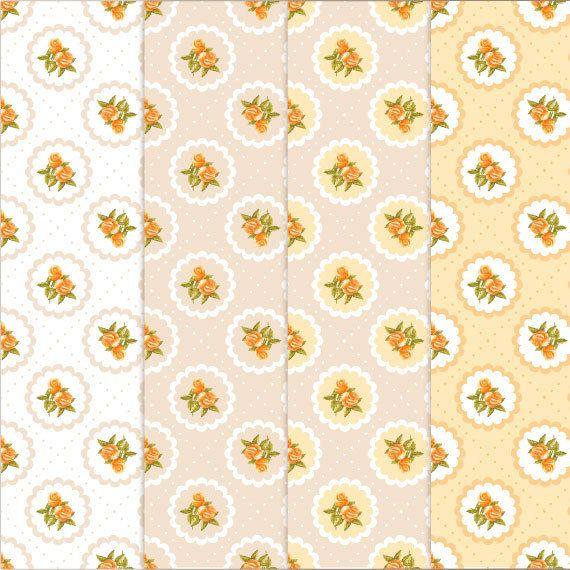 Carta digitale / pattern. Rosette dipinte a mano di DottyCreative su DaWanda.com