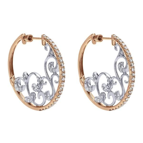 Gabriel NY | Rose and white gold diamond hoop earrings with scroll detailing.