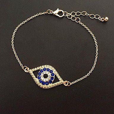 Gouden kleur dames armband met ketting en sluiting blauw oog
