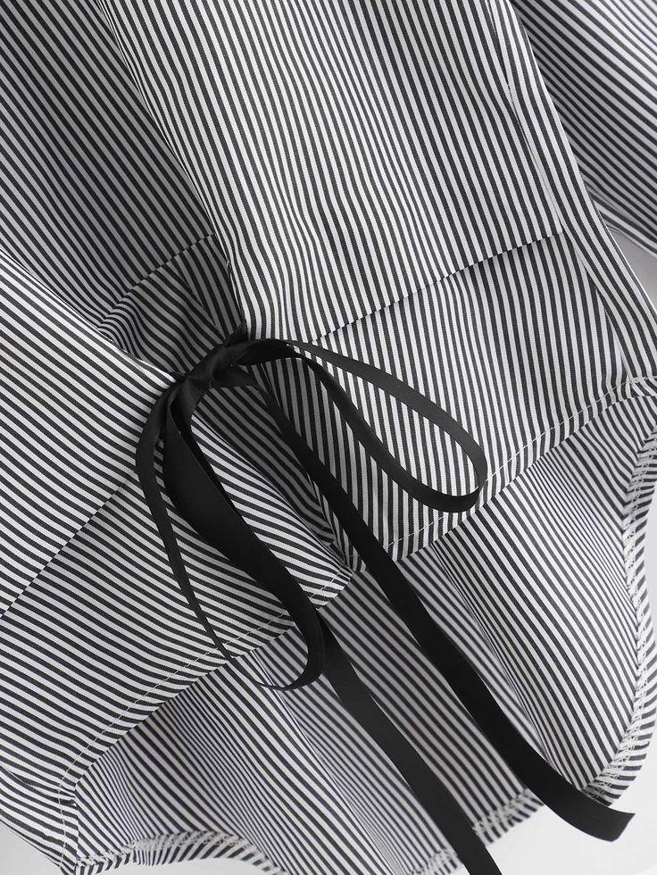 Ribbon stripe sheer fabric, white tonic living