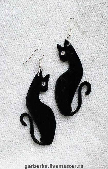 """Pendientes hechos a mano.  Feria de Maestros - Pendientes hechos a mano """"gatos negros"""" OTROS.  Hecho a mano."""
