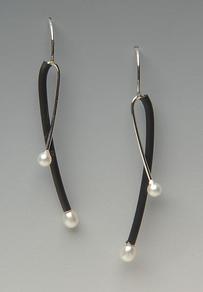 Silver and Black Criss-Cross by Lonna Keller: Silver & Rubber Earrings available at www.artfulhome.com