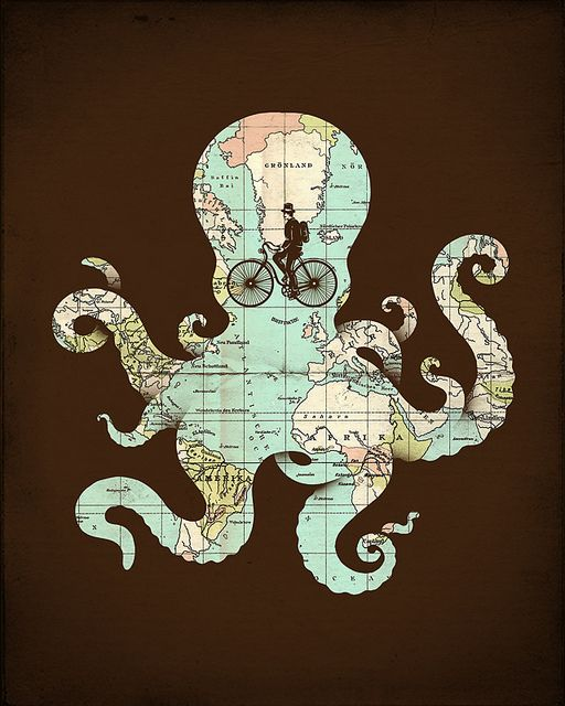 Octopus ~ paint on a transparency so that something else shows in the negative space.