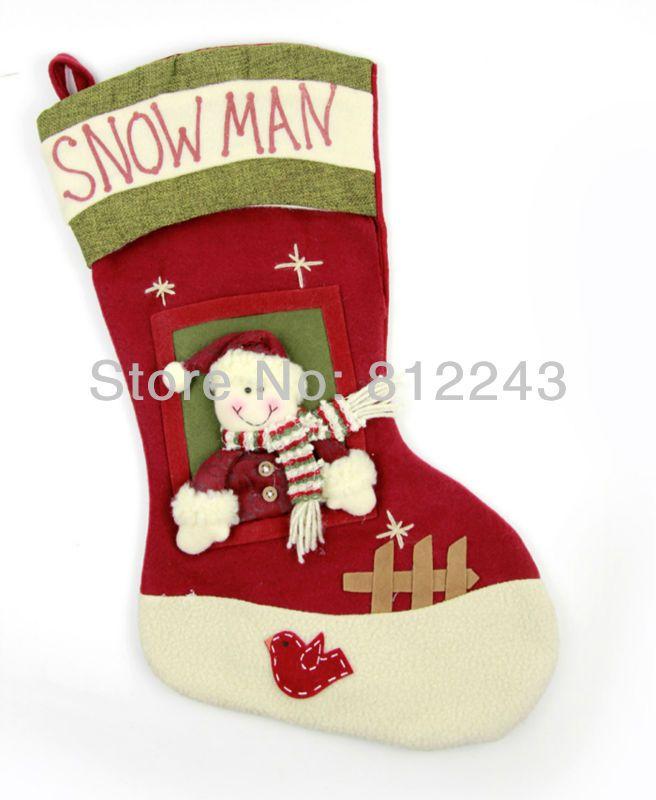 Новогодние украшения конфеты сумка 47 * 26.5 см чулок новогоднее украшение подарки снеговик носки елочные украшения 27005
