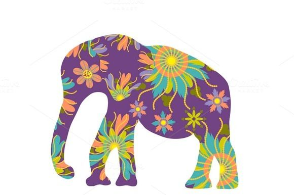 Four #elephant #silhouette by LuizaVictorya on Creative Market #elefant #flowers #floral #fauna #flora #abstract #african #indian #nature #asian #east #thai #Thailand