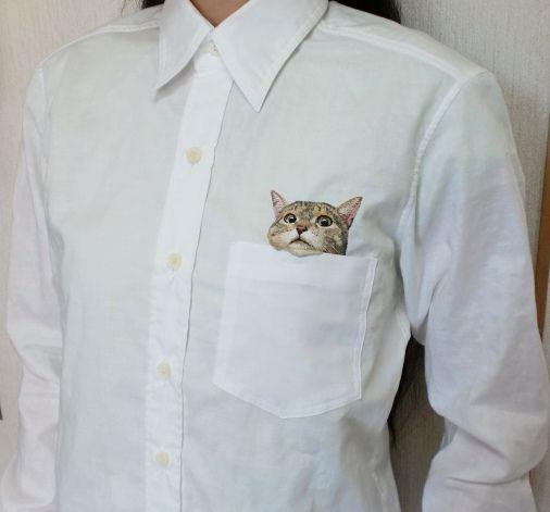 猫の刺繍シャツ