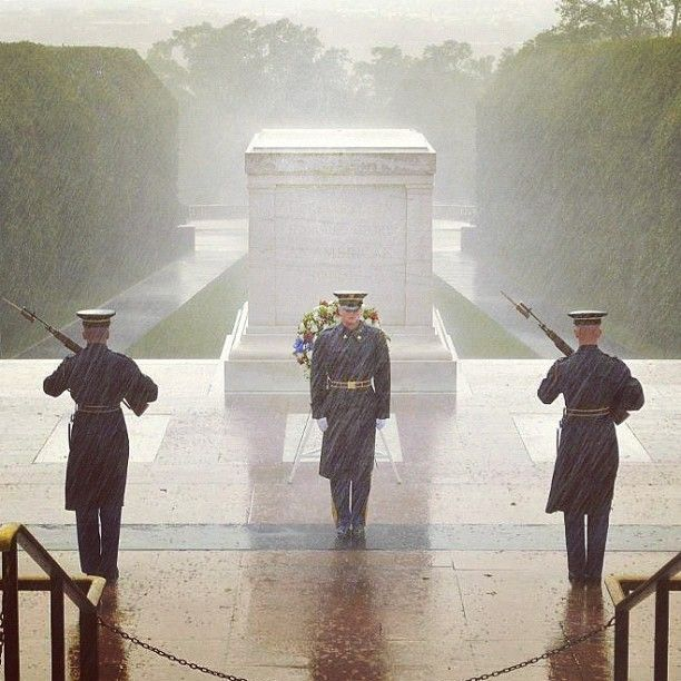 This is an amazing picture of the honor guard at the Tomb of the Unknown Soldier. Despite the hurricane, they are on duty.