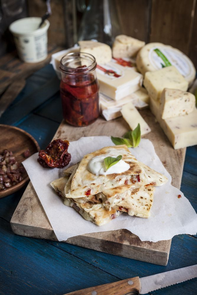 Adventures in Cooking: A Great Midwest Cheese Feast: Smoked Cheddar Grilled Cheese with Granny Smith Apple & Dijon Mustard and a Pancetta Quesadilla with Sun-Dried Tomatoes & Morel & Leek Jack