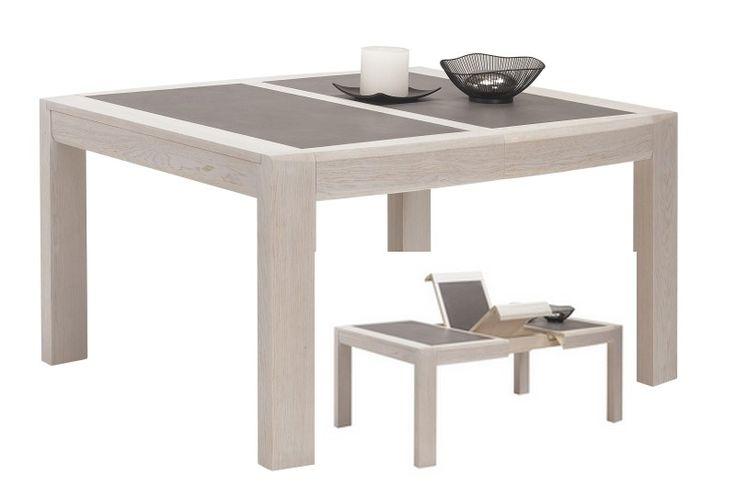 Meublea - Collection Ottawa. Table à manger, avec possibilité d'un plateau en céramique. Allonges en Porte feuille. plusieurs dimensions possibles :  - 140x 125 cm avec une allonge de 50 cm - 180 x 107 cm avec deux allonges de 45 cm. Hauteur de la table : 77 cm