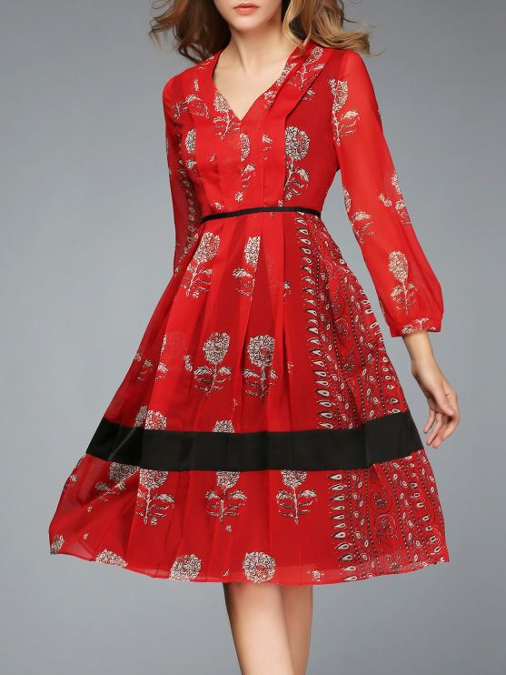 Red A-line Long Sleeve Floral Polyester Midi Dress