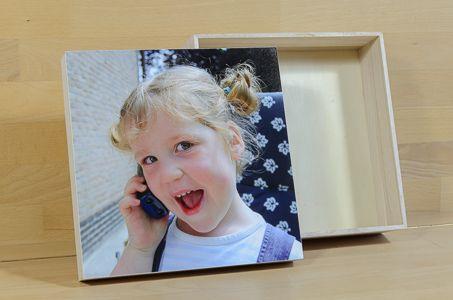 FoTo-Doos met je eigen gewenste foto #communie #geschenk #doos #defotoverij #doosvoorherinneringen #geboorte #20x20cm