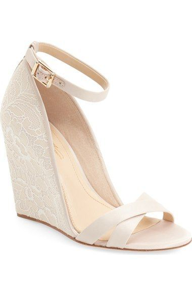 Lace wedding shoes > ivory wedges. Vince Camuto beauties!