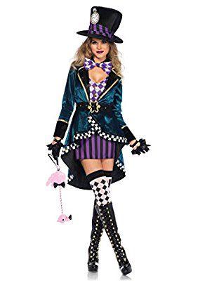 Wunderland Hutmacher Damen Kostum Kleid Mantel Hut Marchen Alice S