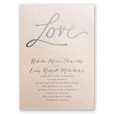 pure love - blush shimmer | foil wedding invitations | custom wedding invites at Invitations By Dawn